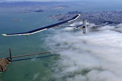 Solar plane over Golden Gate bridge