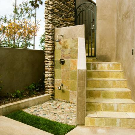 rugged stone outdoor shower design