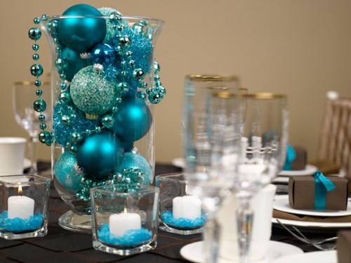 Blue glassware centrepiece