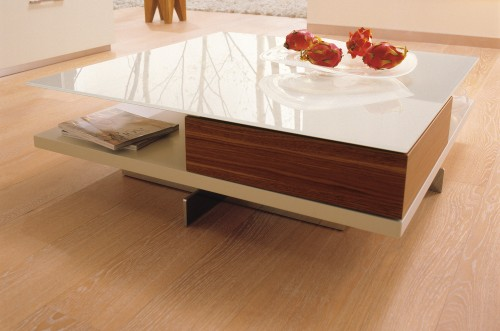Walnut White Lacquered Glass