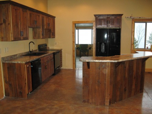 Salvaged wood cabinets