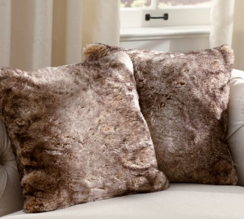 Faux fur pillow covers