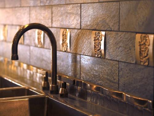 Metal kitchen tiles