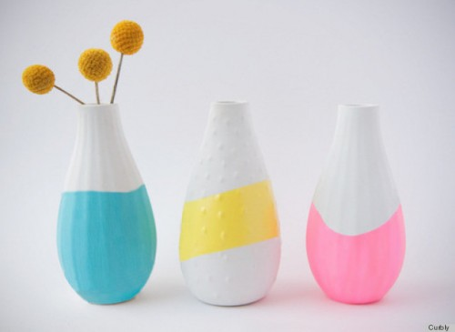 Hand paint a few flower vases in bright colors