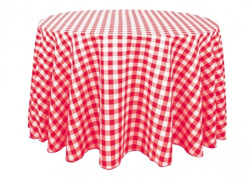 Red and white checkered tablecloth