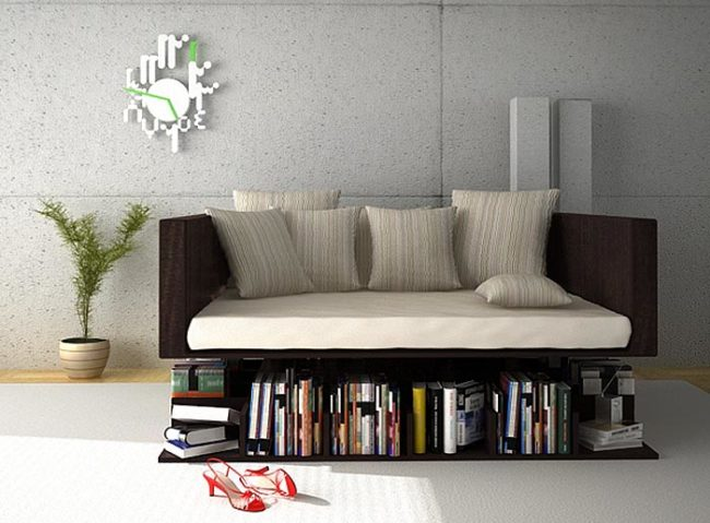 Levitating sofa with attached bookcase