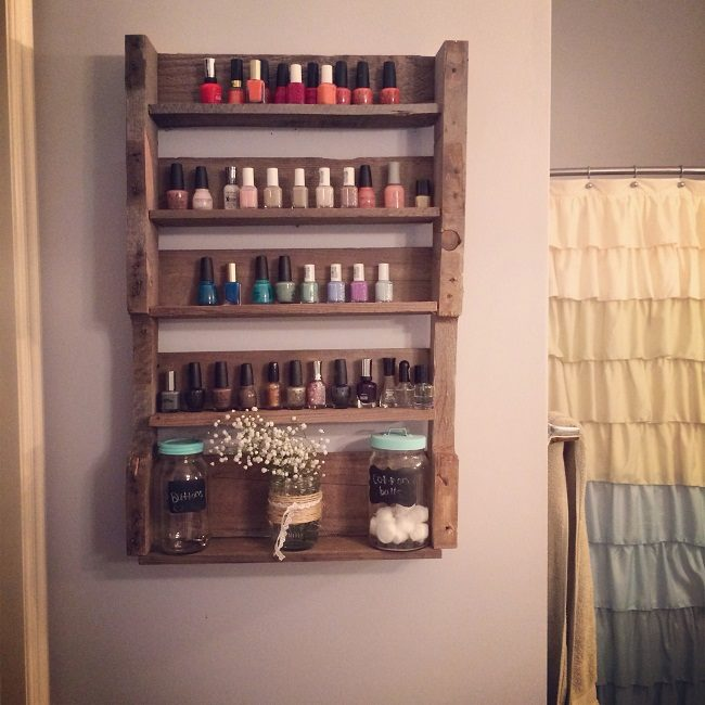 Wood Nail Polish Wall Rack