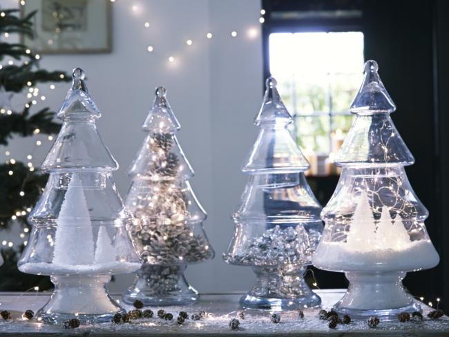 Christmas Tree Shaped Glass Jar